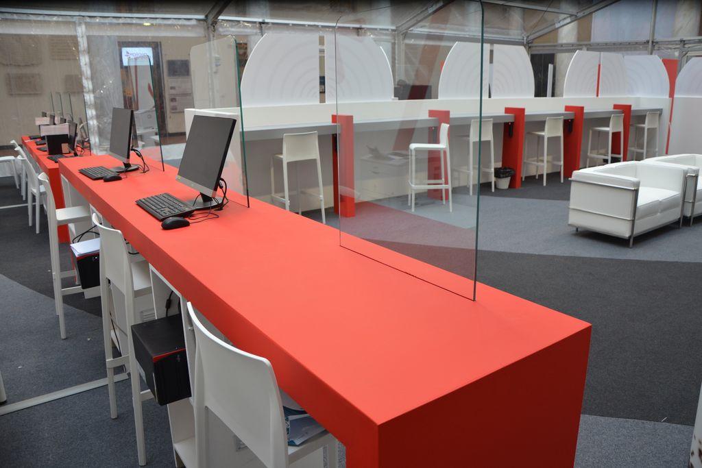 Festival della Scienza allestimento reception - desk