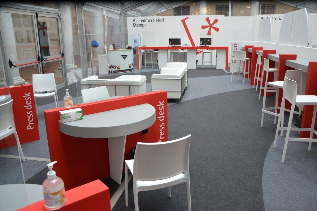 Festival della Scienza 2020 allestimento reception